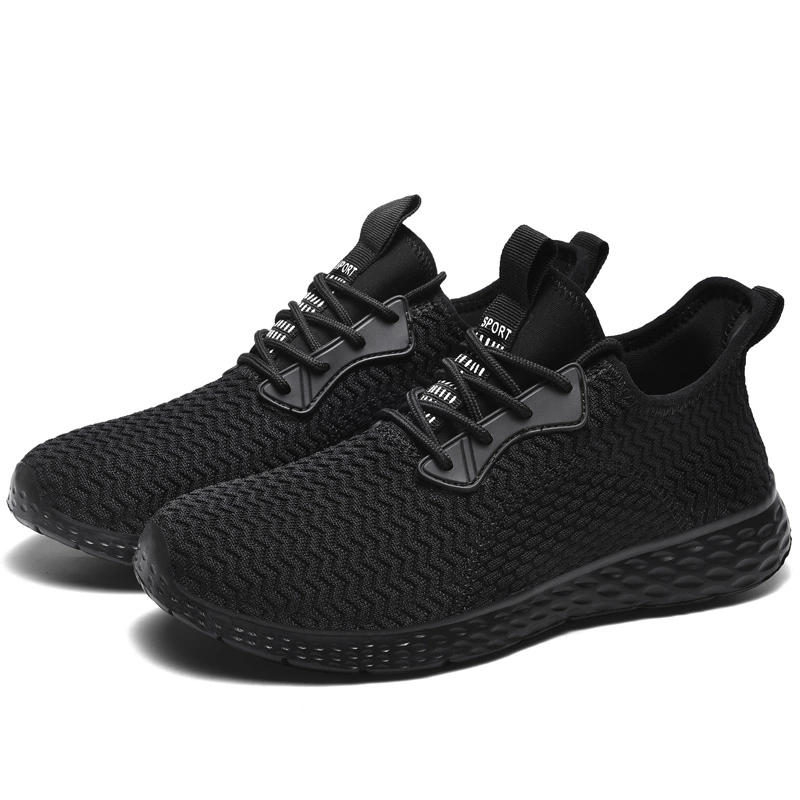 Men's Casual Shoes Men Breathable Sneakers Summer Cushioned Black Gym Running Trainer Flyknit Mesh Shoes