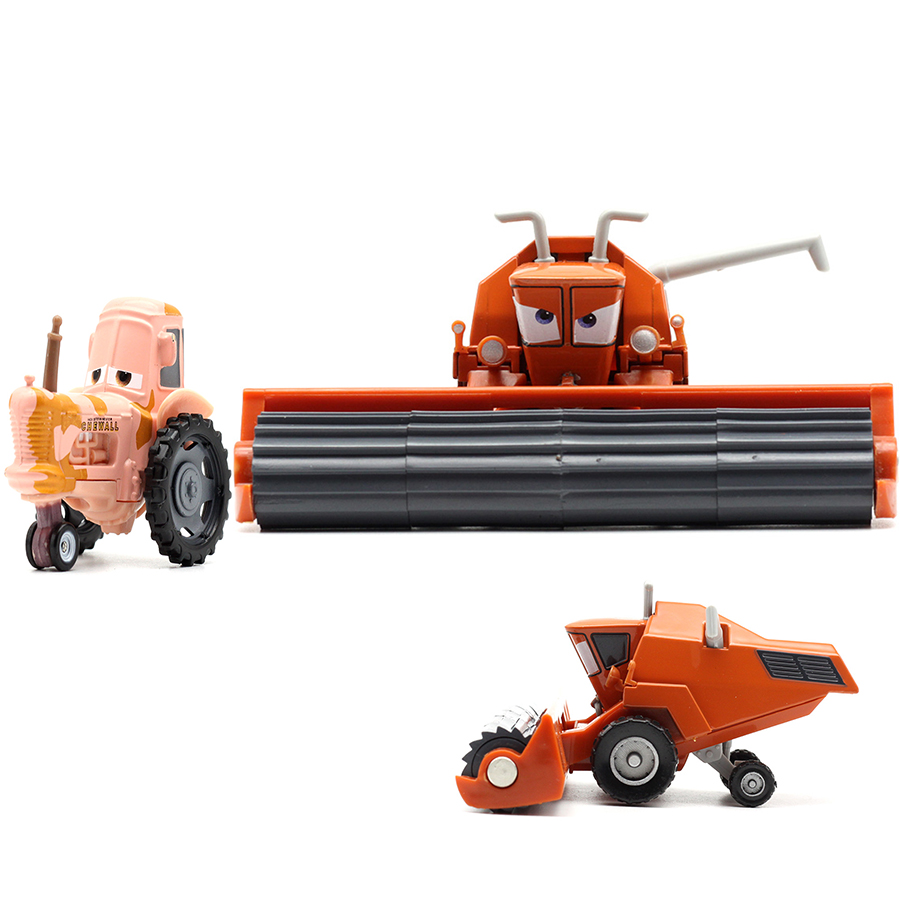 Disney Pixar Cars 2 3 Metal Diecast Car Toy Frank Tractor Combine Harvester Bulldozer Modle Mcquee Frank Miss Fritter Kid Toys