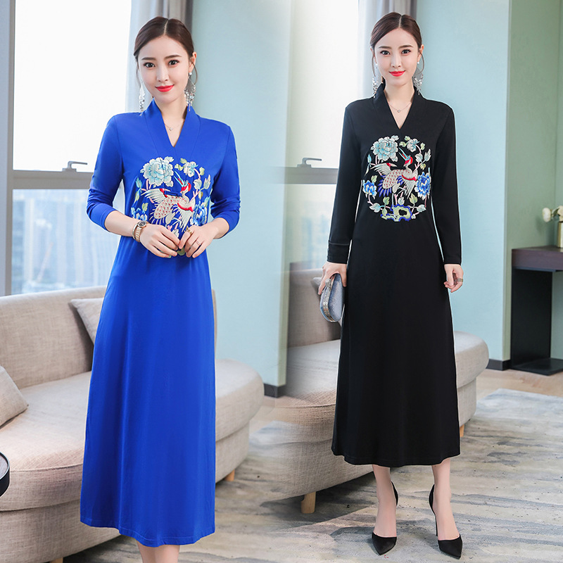 Autumn New Products Ethnic Embroidery Vintage Peony Embroidered Medium-length Elegant Improved Dress