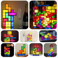Energy Saving Night Light Tetris Block DIY ABS Fashion Atmosphere Lamp Night Lamp Creative LED Light Stackable Constructible