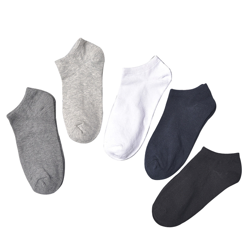 5 Pairs Summer Men Sock Simple Solid Color Boat Socks Classic Casual Cotton Socks Thin Breathable Short Boat Sock