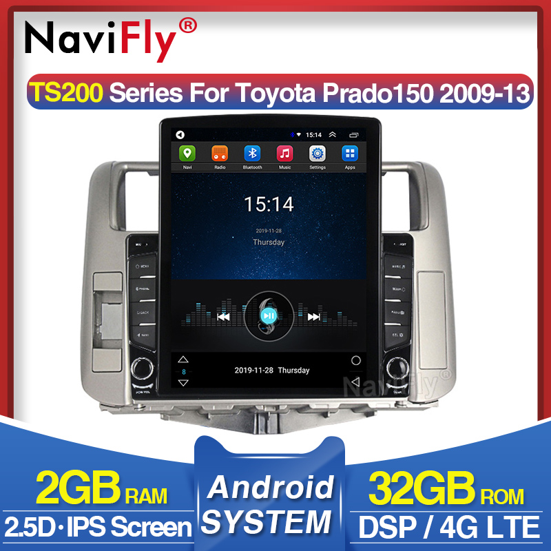 Navifly Tesla style <font><b>For</b></font> <font><b>Toyota</b></font> Land Cruiser <font><b>Prado</b></font> <font><b>150</b></font> <font><b>Car</b></font> <font><b>Radio</b></font> Multimedia Video Player Navigation GPS Android 8.1 No <font><b>2</b></font> <font><b>din</b></font> dvd image