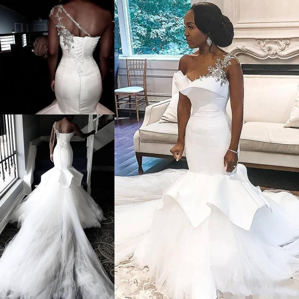 2020 New African Mermaid Wedding Dresses Plus Size Beads One Shoulder Wedding Gowns Satin Tulle Long Train Vestido De Noiva