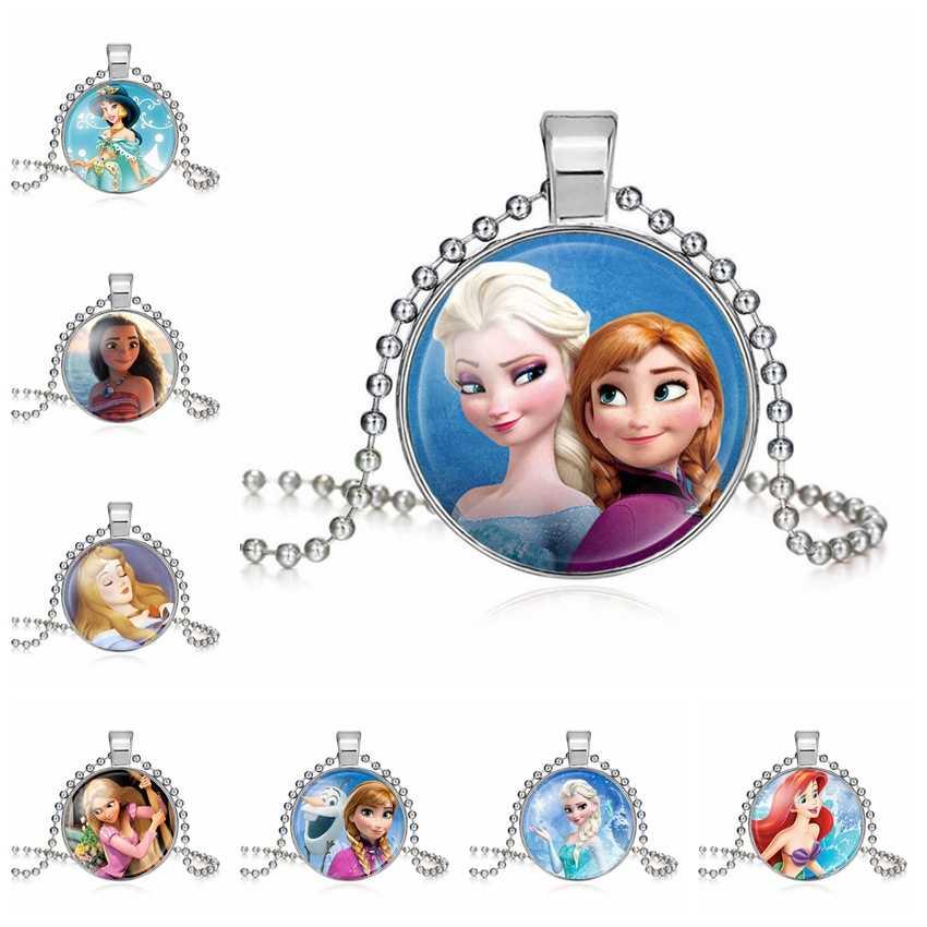 2019 yeni Elsa Anna kolye bayanlar uzun zincir kar kraliçesi kolye takı cam Cabochon prenses kolye kolye kızlar için