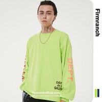 Firmware 2021 uomo/donna felpa verde galleria lettera stampa High Street O colletto sciolto blu scuro t-shirt manica lunga