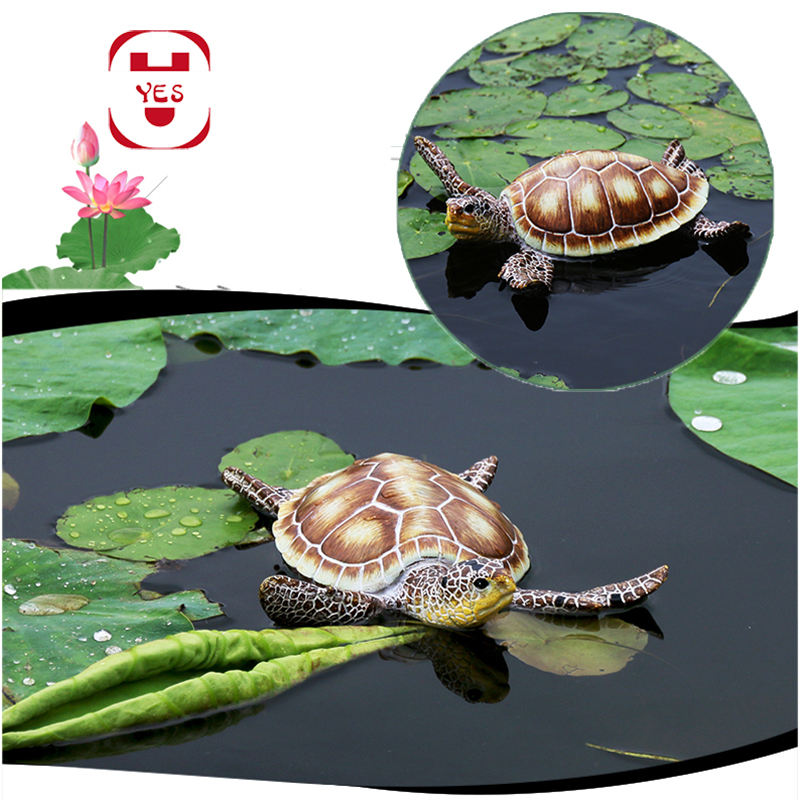 Ornament Decorative Sculpture Bonsai Statue Garden-Decor Floating-Turtle Pond Resin Home