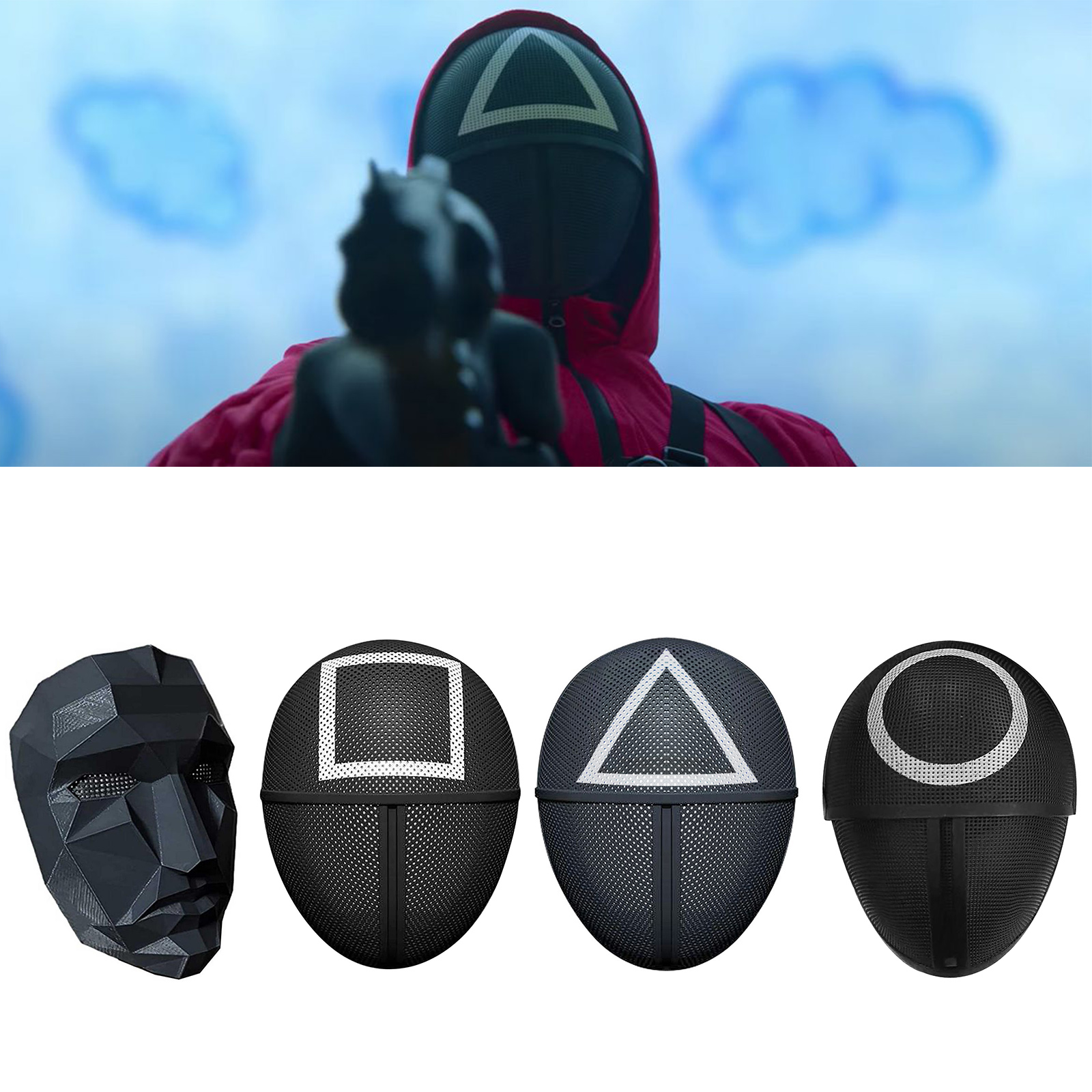 Squid Game Triangle Square Circle Cosplay Plastic Mask Red Hood Man Headgear Boss Costume Props Halloween Cosplay Mondmasker