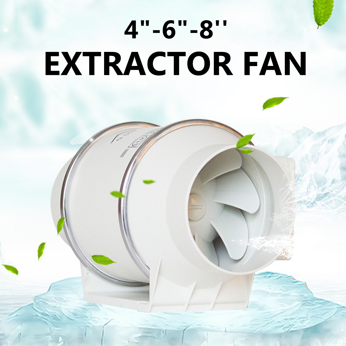 """4""""6""""8"""" 220V Exhaust Fan Home Silent Inline Pipe Duct Fan Bathroom Extractor Ventilation Kitchen Toilet Wall Air Cleaning"""