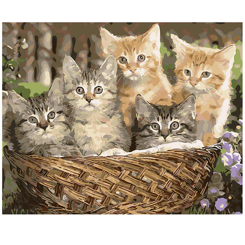 Frameless DIY Oil Painting Pictures By Numbers On Canvas Wall Pictures 5 kittens Wall Art For Living Room Home Decoration