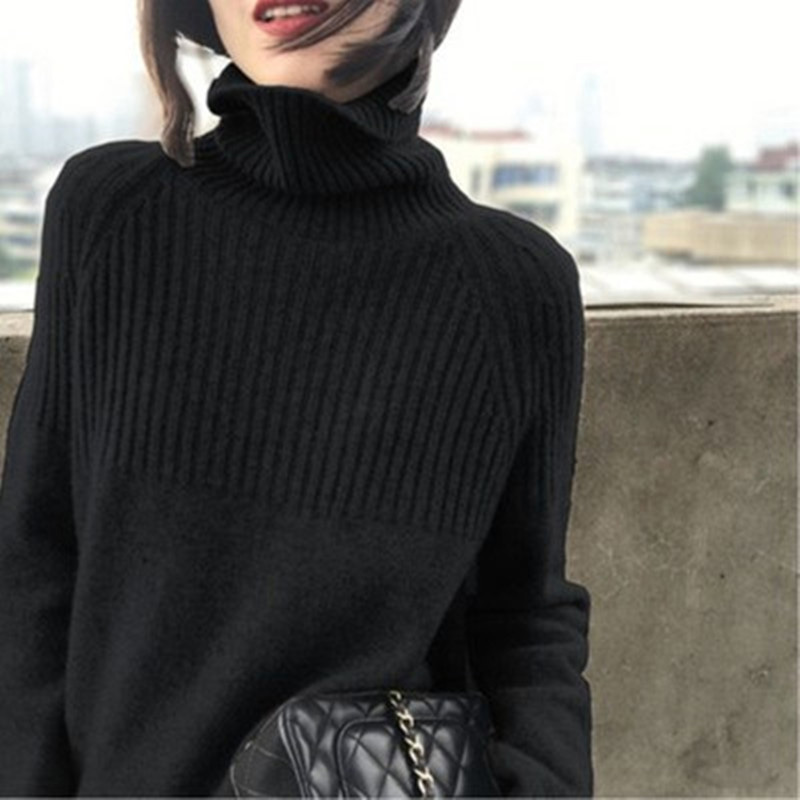 Sweater Women Turtleneck Pullovers Solid Stretch Striped Korean Top Knit Plus Size Harajuku Fall 2020 Winter Clothes Beige Khaki 9