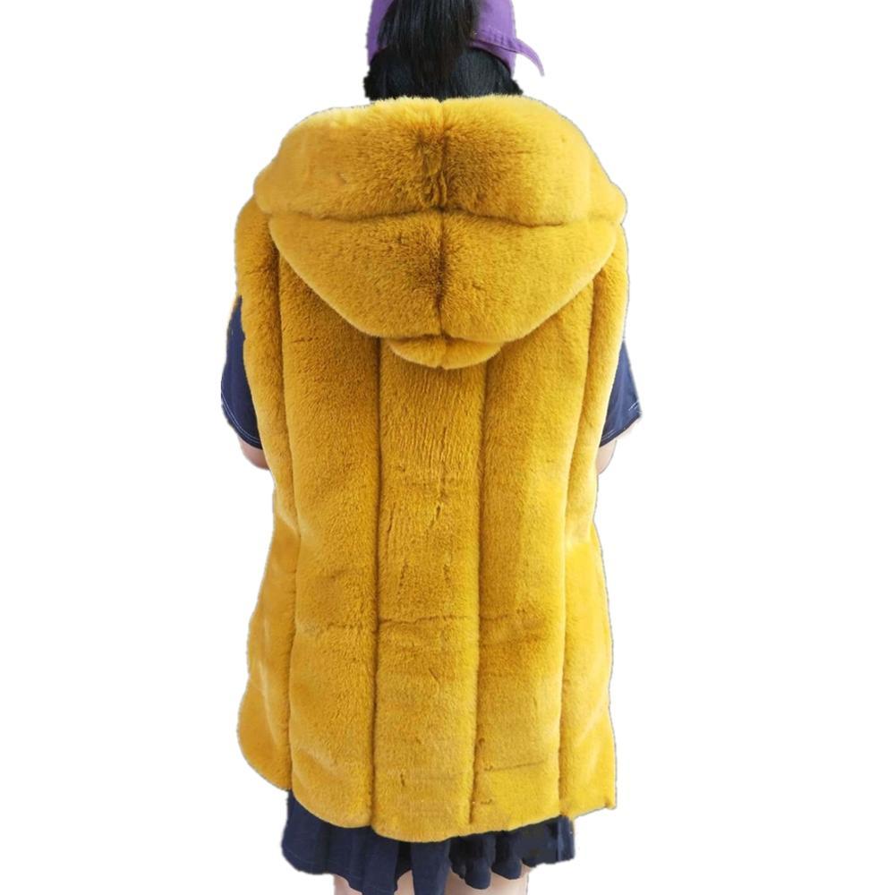 Women Rabbit Faux Fur Vest Coat Factory Faux Fox Fur Vest With Hooded Winter Warm Fox Artifical Fur Vest Ladies Furs Vest Jacket