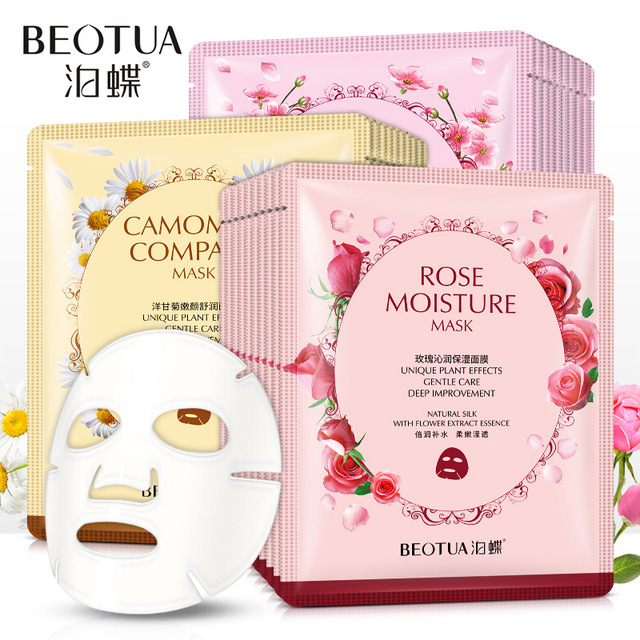 Rose fabric face masks facial acne Moisturizing Chamomile tissue mask for the face Whitening Cherry Oil-control korean skin care