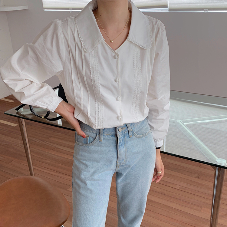 H0b0bec2b2f434d189d41ba250cd9eac8g - Spring / Autumn Korean Turn-Down Collar Long Sleeves Buttons Lace Blouse