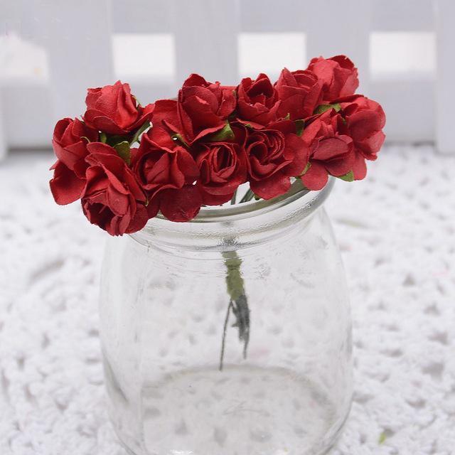 New Decorative flowers 12pcs/lot 1.5cm mini paper rose DIY scrapbooking floral Wedding Party Decoration Accessories