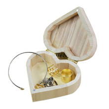 Jewelry Box Container Wood Love Heart Shape DIY Mud Base Art Decor Wedding Gift Home Storage Earrings Ring Box Organizer(China)