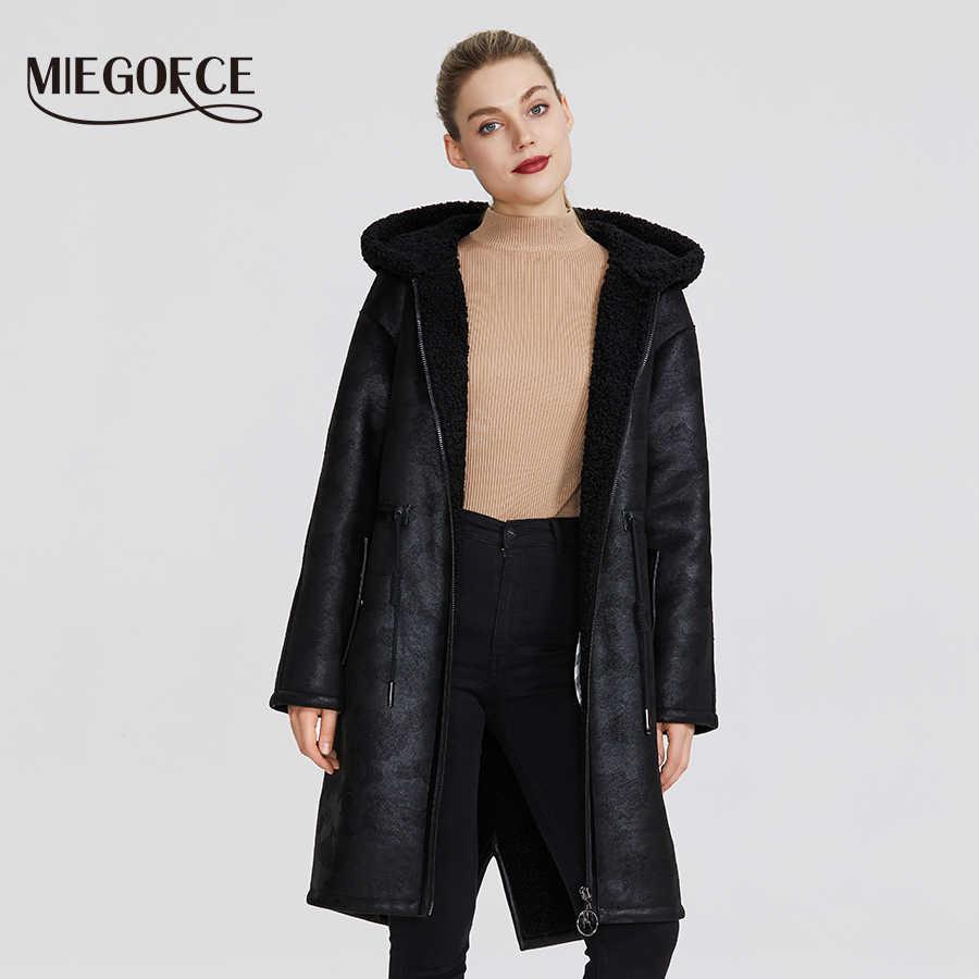 MIEGOFCE 2020 Neue Winter frauen Sammlung von Gefälschte Pelz Jacken Lange Mantel Ungewöhnliche Design von frauen Schaffell Parka