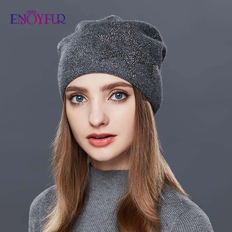 ENJOYFUR Slouchy Winter Hat Wool Knitted Women's Hats Gravity Falls Cap Girl Thick Warm Skullies Beanies