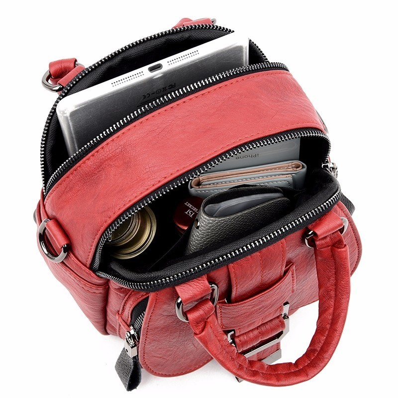 Image 5 - High Quality Female Multifunction Leather Backpacks 2019 Women 