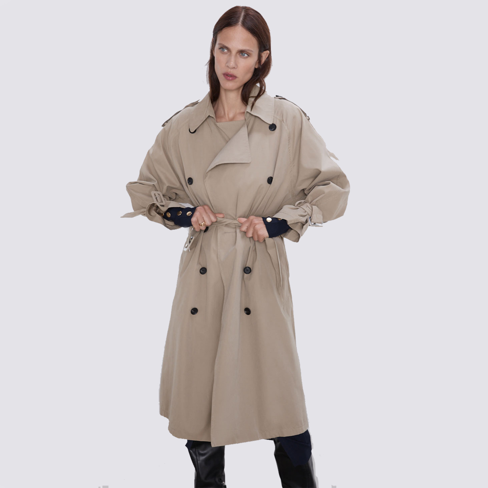 ZA Trench New 2019 Autumn Winter Women Casual Trench Coat Double Breasted Female Fashion Vintage Washed Outwear Loose Wholesale