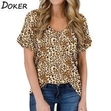 2020 Summer Leopard T Shirt Women V-neck Short Sleeve Vintage Tshirt Tops Plus S