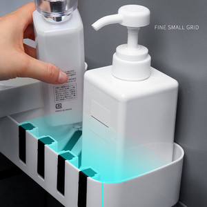 Image 2 - Ventouse en plastique, support de rangement pour salle de bain et cuisine, organisateur étagère de douche, étagère de douche