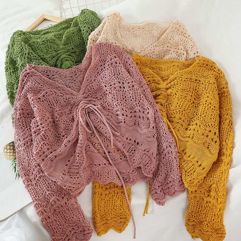 GLAUKE Korean Version V-neck Hollow 2020 Crop Sweater Kawaii Cute Sweaters Knitted Sweater Women  Clothes Pullover Sweater Sexy