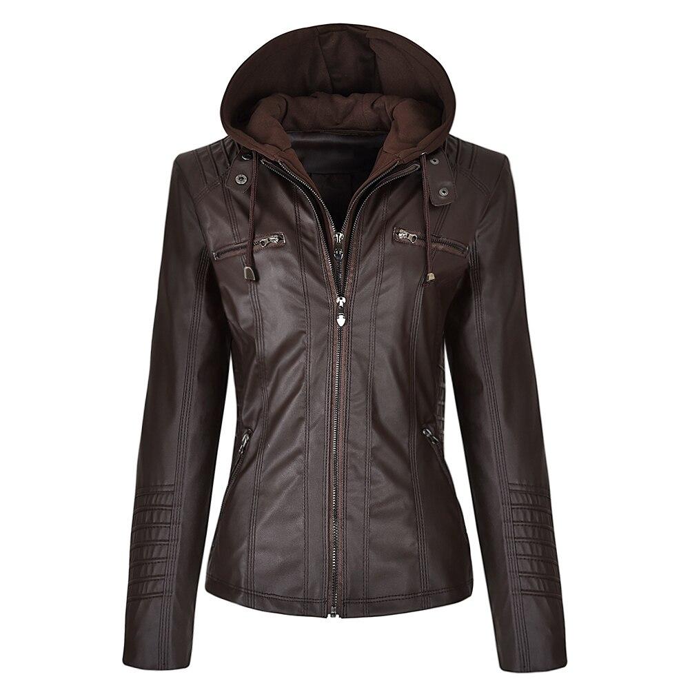 Faux Leather Jacket Women Hoodies Gothic Motorbike Basic PU Jacket Coats Outerwear Hooded Zipper Waterproof Ladies Coat 9