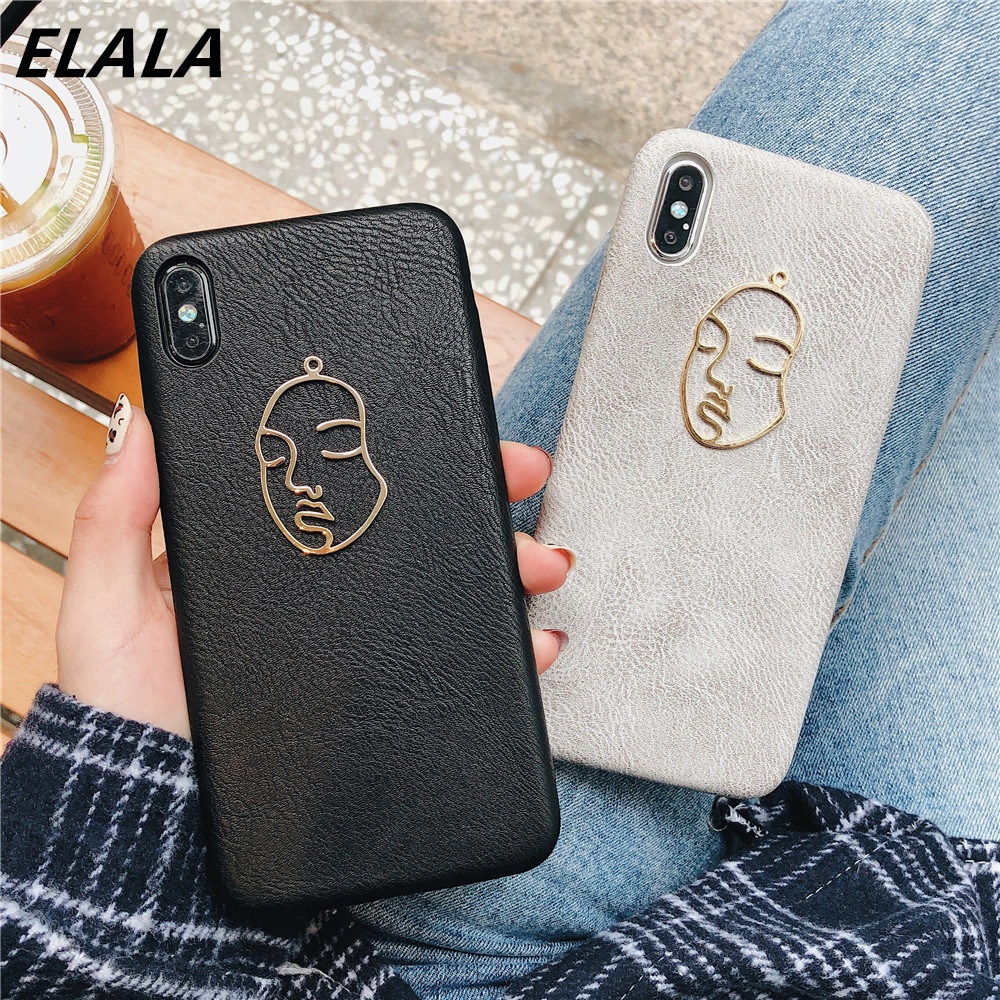 ELALA Leather Case For iPhone 11 Pro XS Max X XR 6 s 7 8 Plus Classic Abstract Art Lover Face Plating Pattern For iPhone X Cover