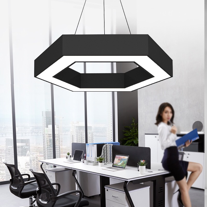 Modern Simple LED Office Space Hexagon Black Chandelier Shop Gym Creative Honeycomb Shape Geometry Special-shaped Lamps