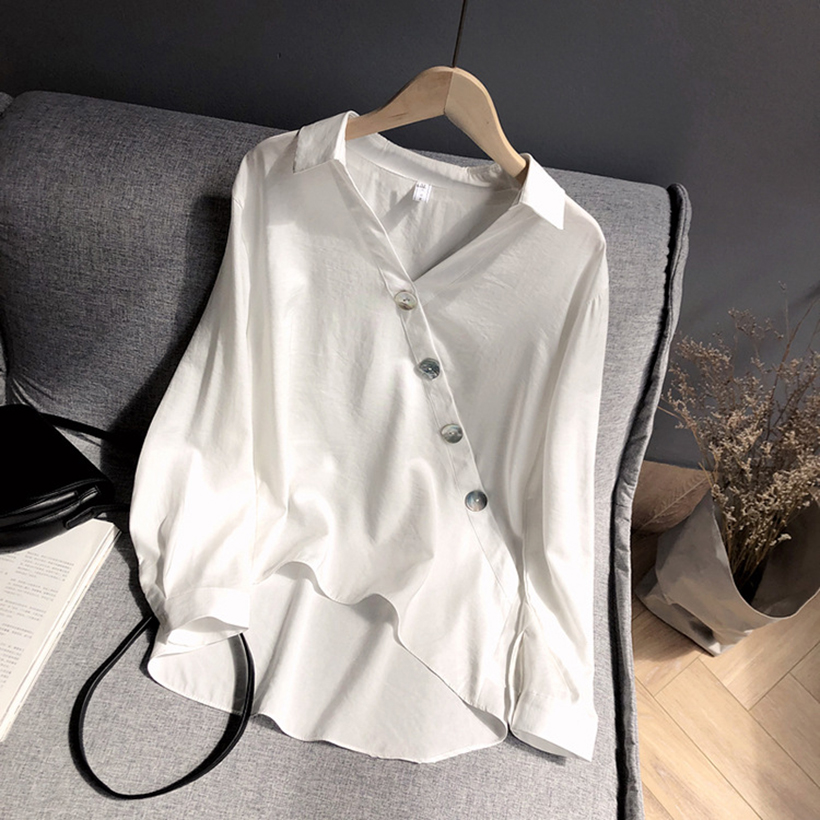 2019 Spring and summer new style Simple design shell decorative button shirt Solid color top in Blouses amp Shirts from Women 39 s Clothing