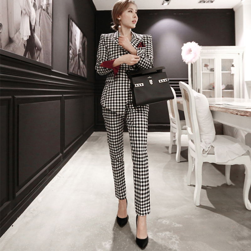 New Fashion Autumn Women High Quality Temperament Slim Thick Suit And Fashion Pencil Pant Work Style Plaid Trend Slim Pant Suit