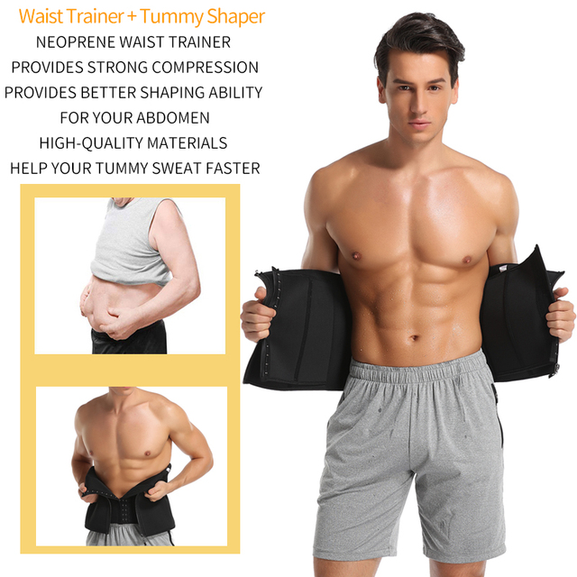 Men Waist Trainer Slimming Body Shaper Modeling Belt Weight Loss Shapewear Belly Shapers Sweat Trimmer Belt Reducing Slim Girdle 2