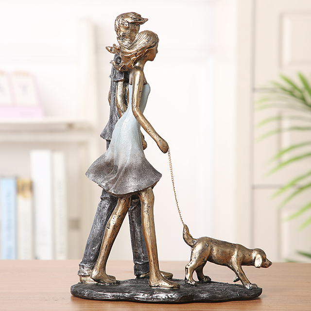 Couple Walking With Dog Handmade Resin Statue 4