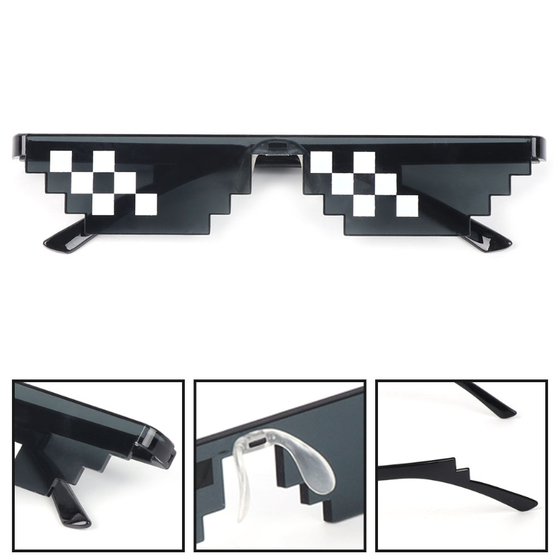 Thug Life Glasses Deal With It Glasses Pixel Women Men Black Mosaic Sunglasses