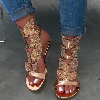 Kobiety sandały Rhinestone płaskie kostki pasek lato kobiet klamra Gladiator buty plażowe kobiet Bling moda damska Plus rozmiar tanie i dobre opinie Tino Kino CN (pochodzenie) Mieszkanie z Otwarta RUBBER Mieszkanie (≤1cm) 0-3 cm Na co dzień Pasek klamra Pasuje prawda na wymiar weź swój normalny rozmiar