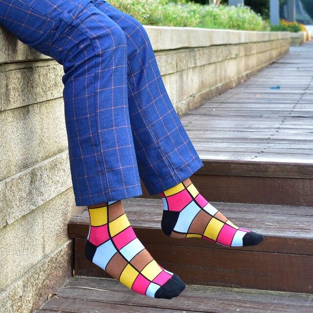 Colorful Autumn And Winter cotton socks geometric lattice classic business casual happy socks men 3