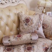 European Luxury Pillow Case Beige Blue Decorative Throw Pillow Cover Couch Chair Fringed Cushion Cover For Sofa Bed Home Decor