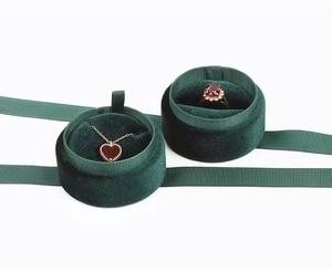 Image 2 - Boîte demballage de bijoux en gros en velours vert foncé rond bowknot pour pendentif et collier