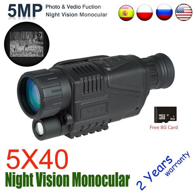 5X40 dijital gece görüş monoküler kızılötesi gece görüş avcılık kapsamı 8G TF kartı ücretsiz gemi