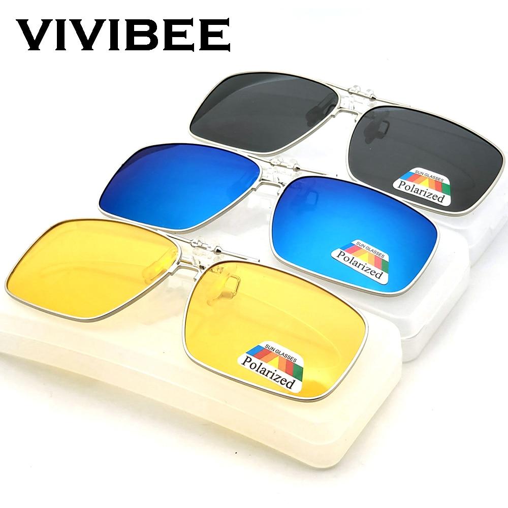VIVIBEE Mens Metal Clip On Sunglasses For Myopia Eyeglasses Polarized UV400 Women Square Night Vision Driving Sun Glasses