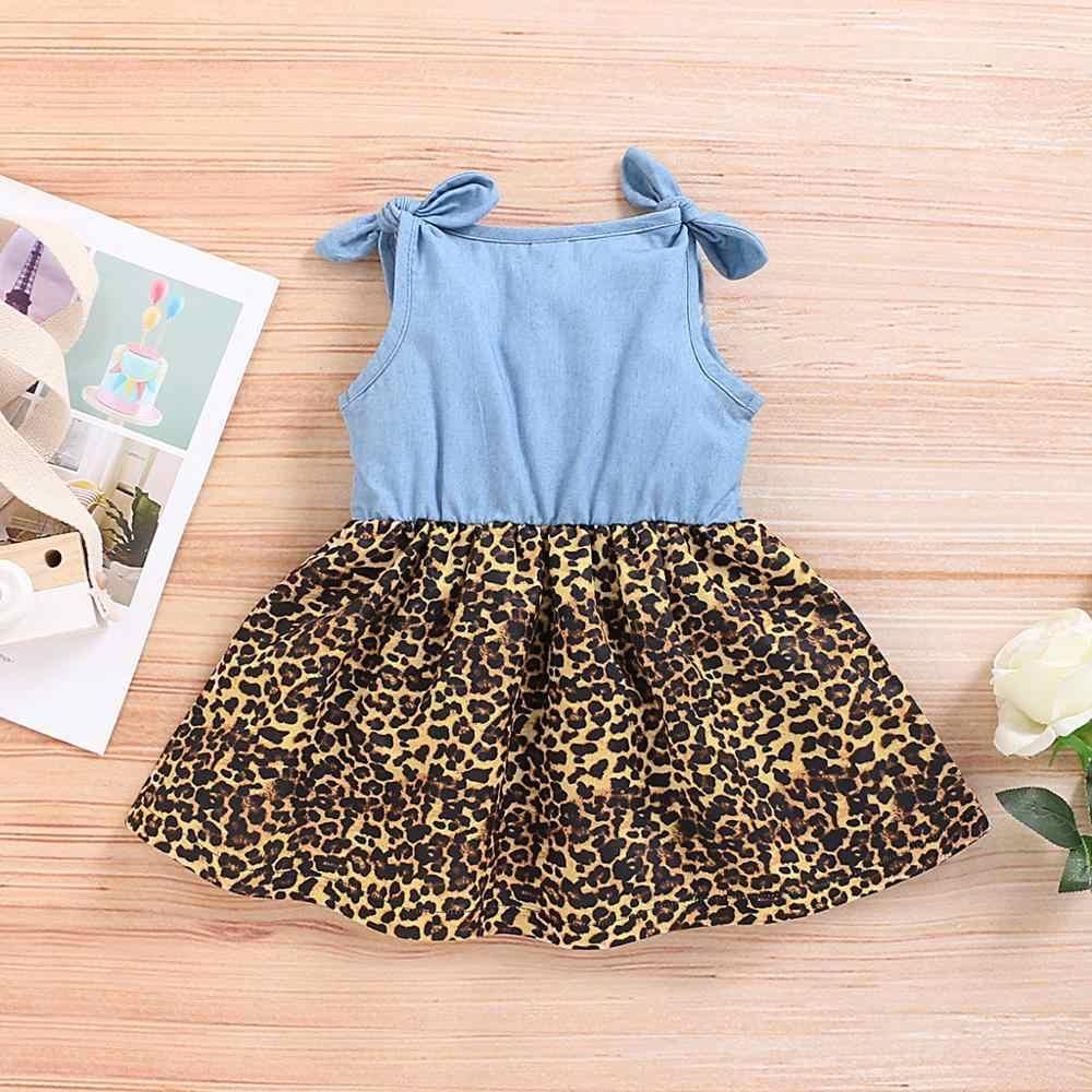 幼児女の子ドレスノースリーブデニムスプライスヒョウ柄ドレス服幼児ガール夏の服 0-3Y ベビー子供服
