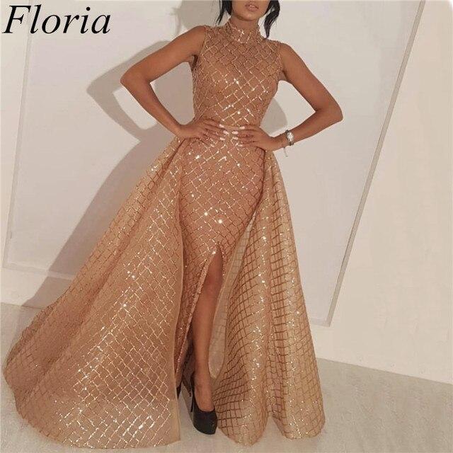 בתוספת גודל אמצע מזרח שמפניה שמלה לנשף עם נתיק רכבת נצנצים גבוה צוואר פורמליות נשים שמלת ערב 2019 Abendkleider