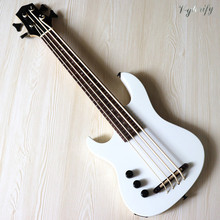 左手白30インチ全固体okoume木製ボディ電気ウクレレ高光沢仕上げ4文字列英国ベースギター