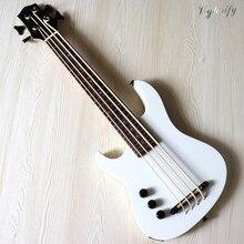 Mão esquerda branco 30 polegada todo o corpo de madeira okoume sólido ukulele elétrico alto brilho acabamento 4 cordas guitarra baixo reino unido