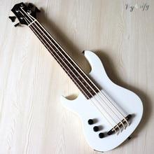 left hand white 30 inch all solid okoume wood body Electric Ukulele high gloss finish 4 string UK Bass Guitar