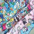 Тонкая холщовая ткань токи-доки с мультяшным единорогом для домашнего текстиля, шитье «сделай сам», скатерть/мешок/Подушка/чехол для дивана...