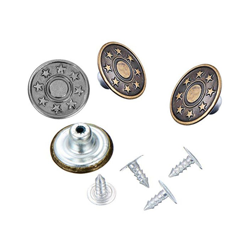 50 Sets Jeans Buttoms Metal Buttoms Snap Buttoms Replacement Kit With Rivets Y4QB