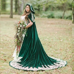 Темно-зеленый бархатный свадебный пиджак с капюшоном длинные кружевные накладные орнаменты Свадебная накидка кофта Болеро Свадебные аксе...