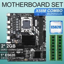 X58 placa base de escritorio LGA1366 set kit con procesador Intel xeon E5620 y 4Gb(2 uds * 2GB) ECC DDR3 memoria RAM de 1333mhz
