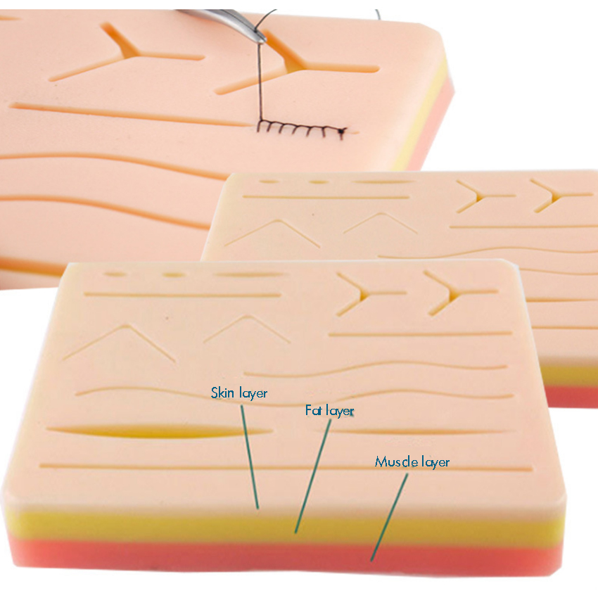 Suture Pad For Practice And Training Use| Muscle, Fat, Composite Material And Skin With Pre-Wounds | Does Not Easily Break